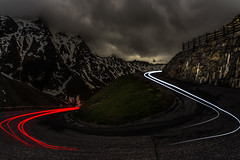 The Curve (mcalma68) Tags: road night lighttrails mountains clouds landscape