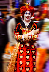 Calming the Piglet (Steve Taylor (Photography)) Tags: art digital costume colourful smile smiling fun happy woman newzealand nz southisland canterbury christchurch blur armaggedon crown pig piglet queen queenofhearts cross dress heart makeup wig