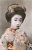 Hana-ikada Kimono 1910s (Blue Ruin 1) Tags: osakamaiko apprenticegeisha geiko geisha osaka kanzashi hanaikada flowerraft kimonomotif japanese japan taishoperiod 1910s handcolouredpostcard yachiyoii koyachiyo