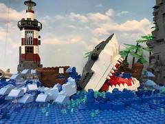 19554287_1507072269355504_8811681972894542898_n (PUISSANCE BRICK) Tags: lego minifigs minifig afol bricks collectable island paradise hotdog shark maïs popcorn sausage saucisse banana banane puissancebrick sea ocean