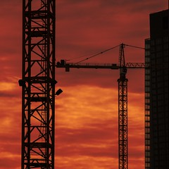 tower town (mitchell haindfield) Tags: economy construction downtown seattle building commercial multifamily development business cranes hoist girder silhouette towercrane skyscraper architecture commerce growth progress skyline cityscape landscape sunset clouds red burn hot