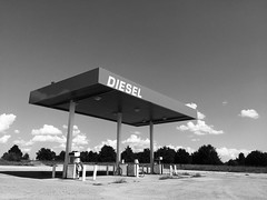 Texas Temples (happiness is...photography) Tags: texas diesel temple black white iphone stark gas station tx somewhere in landscape