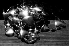 bauble (biodirty) Tags: bauble heart decoration casket brass wood black white bnw monochrome