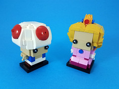 Toad & Princess Peach (cmaddison) Tags: lego brickheadz nintendo mario mushroom kingdom nes toadstool