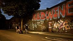 Hackney Wick (I M Roberts) Tags: hackneywick nightscene urbanart redwine graffiti towerhamlets fujix100s