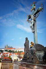 Charles Bridge, Prague (BDphoto1) Tags: europe prague czechrepulbic architecture historical bridge castle cross christian christianity touristlocation famousplace vertical color photograph jesus crucifixion