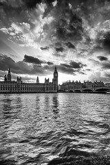 We Don't Remember Days, We Remember Moments by Simon & His Camera (Parliament & Westminster) (Simon & His Camera) Tags: building bw parliament reflection river thames water london city urban tower bigben westminster clock simonandhiscamera skyline sky bridge architecture horizon iconic landscape blackandwhite monochrome outdoor waterfront clouds sunlight