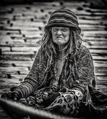 Sitting on the street (Andy J Newman) Tags: homeless girl lady candid onthestreet streetphotography nikon d500 old silverefex blackandwhite
