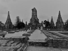 Ayutthaya (SM Tham) Tags: asia southeastasia thailand ayutthaya unescoworldheritagesite watchaiwatthanaram temple towers stupas ruins people trees monochrome blackandwhite outdoors buddha statues bricks scaffolding