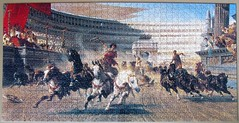 The Chariot Race (pefkosmad) Tags: jigsaw puzzle hobby leisure pastime art painting fineart panorama chariotrace race horses chariots alexandervonwagner thechariotrace roman rome 1000pieces complete used secondhand