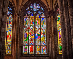 Stained glass window at Cologne Cathedral (mary_hulett) Tags: cologne rivercruise interior window travel colognecathedral 2017 viking rhineriver cathedralofstpeter europe church stainedglass
