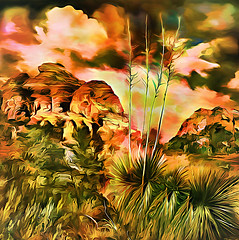 Yucca Redux (with a nod to Georgia O'Keeffe) (D'ArcyG) Tags: yucca cactus succulent arizona sedona southwest desert redrock okeeffe georgia impression abstract nature landscape vivid mountain clouds