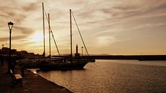 Sepia sunset (Chania, Crete) (armxesde) Tags: pentax ricoh k3 greece griechenland crete kreta insel island chania hafen harbour water wasser ship schiff sonnenuntergang sunset silhouette gegenlicht boot meer