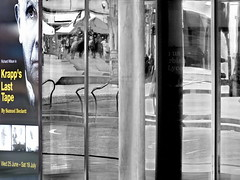 krapp's last tape (Harry Halibut) Tags: sheff1407059384 2017©andrewpettigrew allrightsreserved imagesofsheffield images sheffieldarchitecture sheffieldbuildings colourbysoftwarelaziness sheffield south yorkshire refelctions crucible theatre poster window richard wilson last tape samuel beckett play krapps tudor square steps handrail