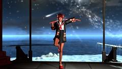 Okinawa (Myra Wildmist) Tags: secondlife sl myrawildmist virtualphotography virtualart kimono katana japan okinawa nihon schoolgirl