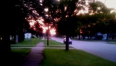 Summer Sunset! (Maenette1) Tags: sunset summer street trees houses car neighborhood menominee uppermichigan flicker365