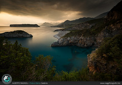 Praia a mare at sunset - Calabria / Italy. (AlbertoRagnoli) Tags: praiaamare sunset calabria sea seascape lanscape rocks rock beach thunderstorm longexposure goldenhour green mountain mountains arcomagno italy