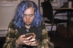 Me (lordgogurt) Tags: people person face portrait figure being body life girl gal female lady woman me self selfportrait myself hair dye color blue phone indoor indoors night nighttime dark darkness dorm room college campus sit sitting seated