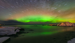 Aurora borealis from Gimsøya island (Marek Stefunko) Tags: night nordland winter lofoten northernlights norway aurora snow gimsøy ocean auroraborealis sea north gimsoya island gimsøya beach landscape coast gimsoy hov