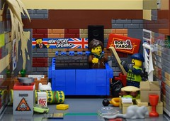 LEGO dumpster by Bruce Lowell🚮 (Alex THELEGOFAN) Tags: lego legography minifigure minifigures minifig minifigurine minifigs minifigurines town trash bruce lowell dumpster poor homeless garbage man city nasty dirty bin moc