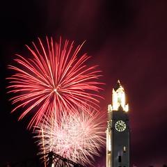 30 seconds of fireworks exposure (flyjonny) Tags: vieuxport clocktower clock feuxlotoquebec longexposure nightshot nightphotography night fireworks mtl montreal