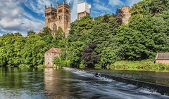 Durham Cathedral overlooking the River Wear. (robinta) Tags: durham heritage historic cathedral church buildings pentax river riverwear water landscape summer sky clouds trees scenic sigma sigma18200mmhsmc ks1 longexposure blur movement england ngc colour colors landmark ancient