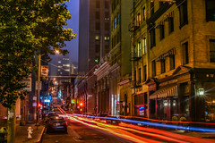 afterglow (pbo31) Tags: bayarea california nikon d810 color july 2017 summer boury pbo31 city urban sanfrancisco night dark financialdistrict infinity lightstream motion traffic roadway bluehour orange red tavern bar wayfare