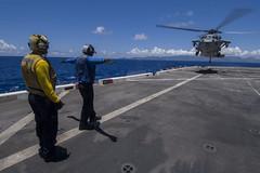 170715-N-BK384-161 (U.S. Pacific Fleet) Tags: usssandiegolpd22 sandiego lpd22 ldp22 sailors marines navy usnavy pacificocean phibron3 15thmarineexpeditionaryunit meu 15thmeu deployment flightdeck greendeck abh avaitionboatswainsmatehandling handling mh60sseahawk wildcards helicopterseacombatsquadron23 hsc23 hawaii