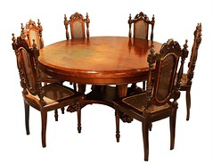 Round Table with Six Chairs (Leo Cloma) Tags: philippines makati auction auctions leon gallery filipino antique antiques furniture art cloma