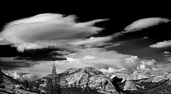 Dramatic Sky (San Francisco Gal) Tags: olmstedpoint pollydome cloud lenticular cumulus mountain granite yosemite nationalpark monochrome bw bn tree conifer yosemiteconnect