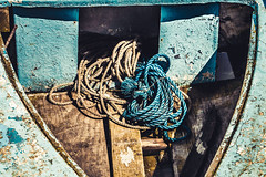 Bit of old rope. (aquanout) Tags: rope boat toned symmetry wood random coils stilllife