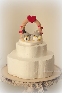 penguins with flowers arch custom Wedding Cake Topper, ceremony decoration, handmade clay doll and cake decor ideas