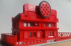 First Attempt At Mini Scale Building (nathanstewart2) Tags: legos lego tyre factory miniscale red