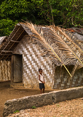 Ni-Vanuatu boy in front of a traditional house made with palm leaves, Shefa Province, Efate island, Vanuatu (Eric Lafforgue) Tags: a0010143 adventures architecture buildingexterior colourimage day developingcountries exterior home horizontal house indigenousculture island malakula mallicolo melanesia newhebrides nivanuatu nonurbanscene oceania onechildonly outdoors pacificislands pacificocean palmleaf photography residential rural rustic simplicity southpacific straw thatch thatched thatchedhut thatchedroof tourism traditional traveldestinations typical vanuatu vertical village wood efateisland shefaprovince vut