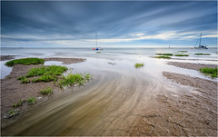 The Hightown Rush (Phil Durkin) Tags: boats clouds dusk england evening gb hightown liverpool sea sunset uk cloud cloudscape coast nopeople sand shoreline summer tide water waves