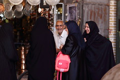 Smiling (deus77) Tags: kerman ira kanjalikhan square copper shop smiling person persons iranian persian women old man