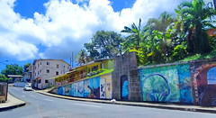 Happy Fence Friday! (peggyhr) Tags: peggyhr hff wall murals fence street clouds sky palmtrees dsc02686a scarboroughtobago