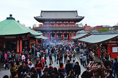 Sensoji XVI (Douguerreotype) Tags: japan tokyo buddhist temple shrine people architecture buildings street religion worship gate incense