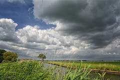 Obscured By Clouds (Alfred Grupstra) Tags: nature cloudsky sky cloudscape outdoors ruralscene grass summer landscape blue agriculture scenics field greencolor weather meadow plant farm nonurbanscene season canal
