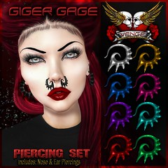 VENGE - Original Mesh - Giger Gage Piercing Set_Ad (Vixn Dagger - Vengeful Threads / VENGE) Tags: originalmesh originaldesign piercing nosering earrings septum venge vengefulthreads goth gothic dark punk rock rocker extreme