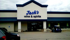 Jack's Fresh Market , wine and spirits department - SS (Maenette1) Tags: jacksfreshmarket wineandspirits storefront doors windows cars menominee uppermichigan signsunday flicker365