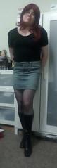 The girl next door look (Ally Mortenwold) Tags: crossdressing crossdresser transvestitea transgender blackboots redhead denim blacktop glasses