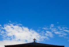 The Heavens (rustyruth1959) Tags: nikon nikond3200 tamron16300mm lancashire ribchester church cross sky churchofstpeterandstpaul clouds takeaimachallengegroup bigskies outdoor roof churchroof