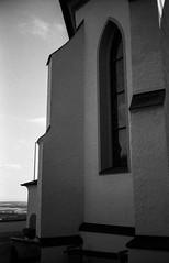 Geometrical Church (zoltannagel) Tags: mamiya 135ee rangefinder messsucher bergger 200 expired film negative black white epson v600 bw geometrical geometry church building schwarz weiss oberschwaben germany bussen ilford ilfotec lc29