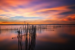 Nets (Anto Camacho) Tags: sunset lake landscape valencia nature net bigstopper longexposure clouds light waterscape lakescape