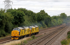 97302 + 97303 - North Staffs Junction (Andrew Edkins) Tags: class97 97303 97302 networkrail lightengine northstaffsjunction geotagged canon derbyshire england uk trees railwayphotography yellow sigma light summer 2017 july pylon englishelectric tractor