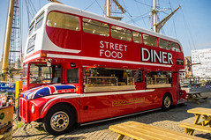 Street Food Diner Classic London Bus Conversion (Brian Travelling) Tags: classic bus london liverpool waterski water ski training dock dockside england pentaxkr pentax