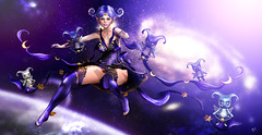 Star  guardians (meriluu17) Tags: moonamore poseidon galaxy cosmic guardian guardians violet purple star stars moon sky universe space fly flying cute baby doll dolly elven elf fantasy surreal fog people