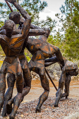 Flag Planting (marvhimmel) Tags: ca california general livingmemorialsculpture yreka us97 park vietnam sculpture memorial weed mtsurabachi wwii