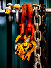 Heavy Metal (Steve Taylor (Photography)) Tags: chain rod yellow silver brown blue orange metal steel rust iron container newzealand nz southisland canterbury christchurch shiny
